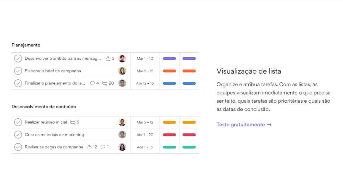 Tela do site da Asana mostrando a visualização de lista