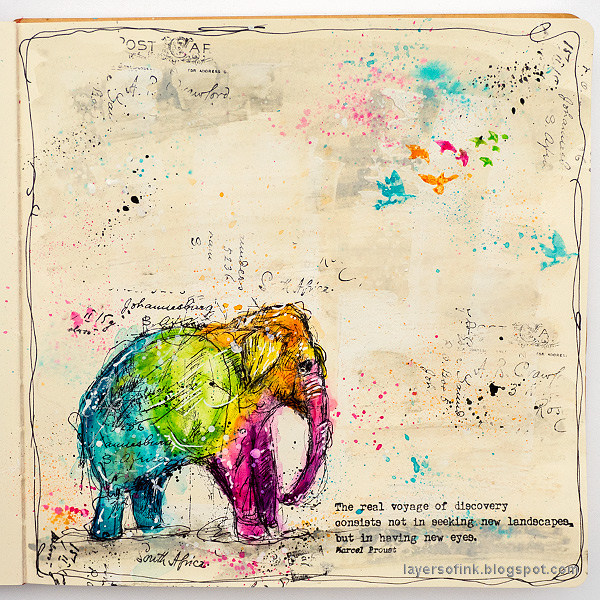 Layers of ink - Pop Art Elephant Journal Page by Anna-Karin Evaldsson.