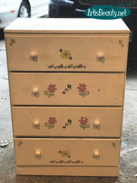 VINTAGE BEAT UP OLD KIDS DRESSER GIVEN A MODERN UPDATE