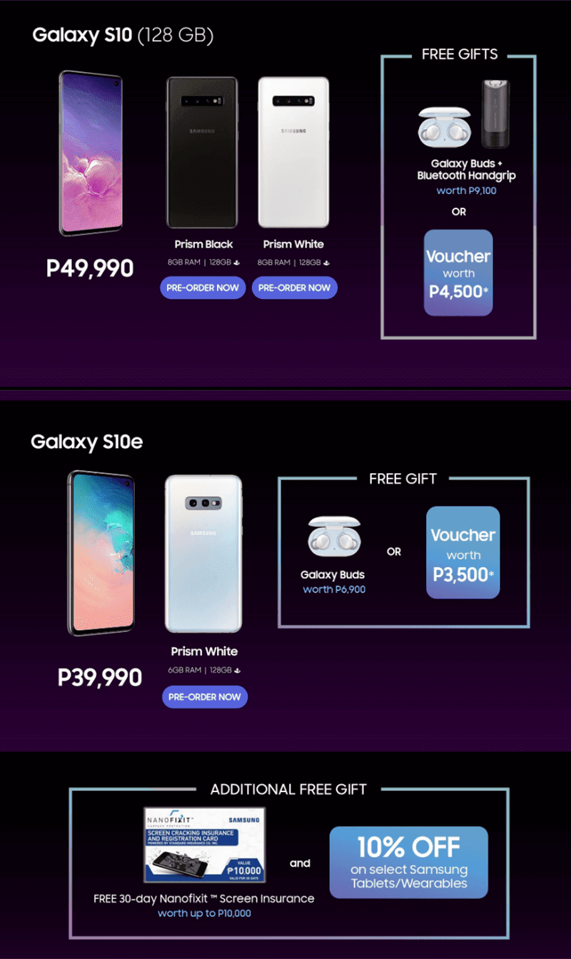 Offers for the Samsung Galaxy S10 and S10e