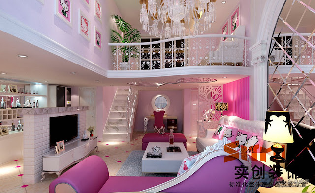 Awesome Feminine Living Room Design With hello kitty themes