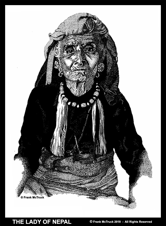 Frank McTruck pen and ink drawing - 'The Lady of Nepal'