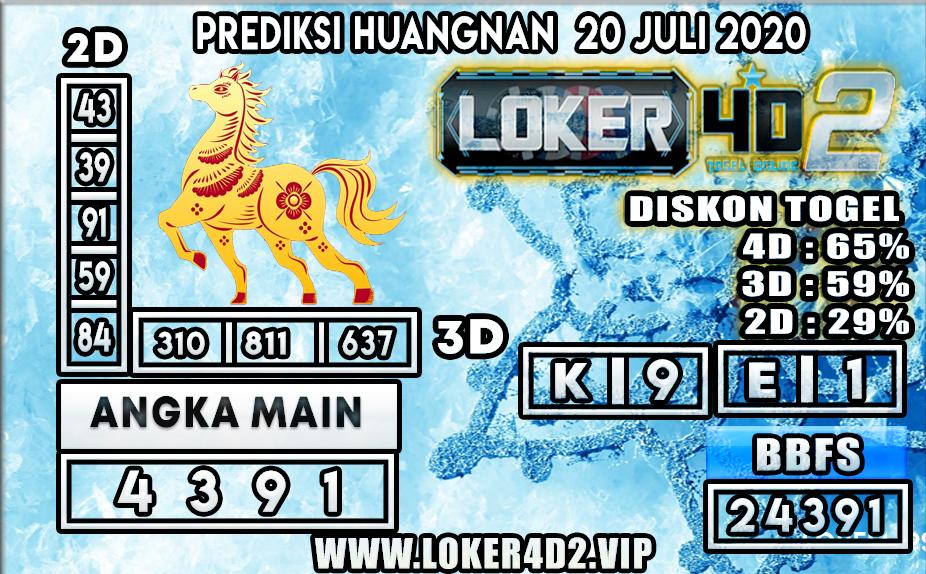 PREDIKSI TOGEL LOKER4D2 HUANGNAN 20 JULI 2020