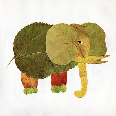 elefante con hojas