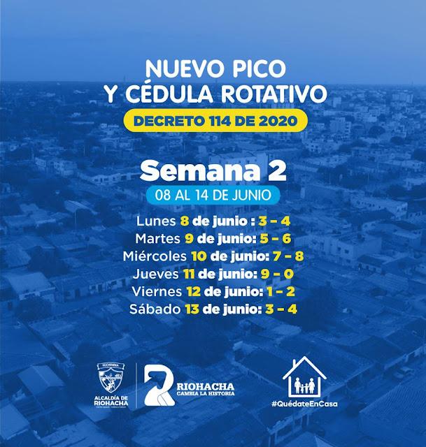 Pico y cédula en Riohacha para la 2a. semana de junio
