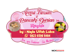 Aroma dimsum pancake durian najla ulfa lubis - percetakan tanjungbalai - logo label