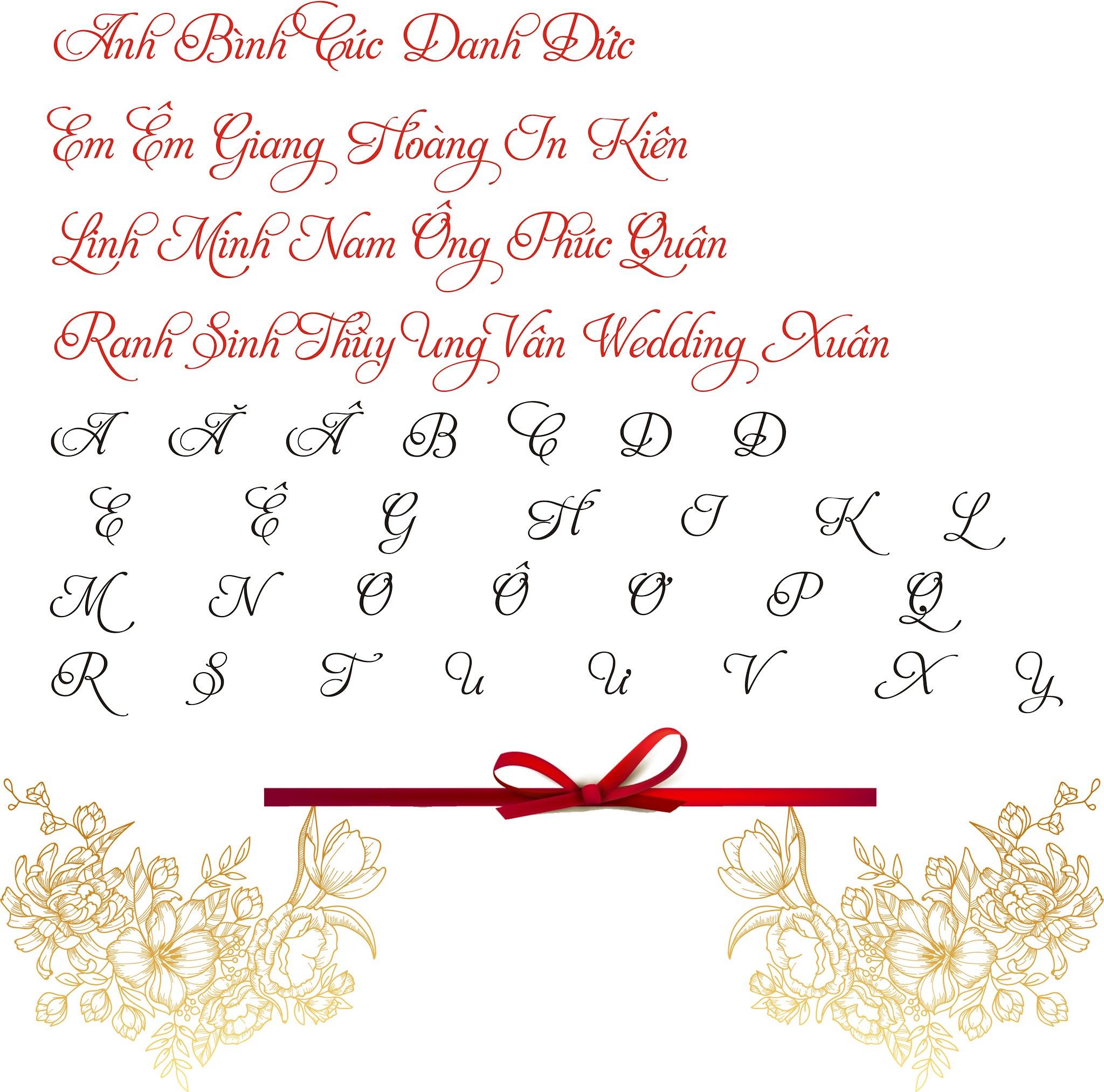 Fonts in thiệp cưới
