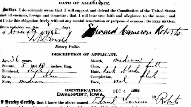 edward c roberts passport application 1908
