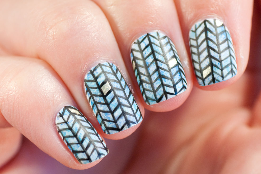 Herringbone Fishbone Pattern Nail Art - freehand nails
