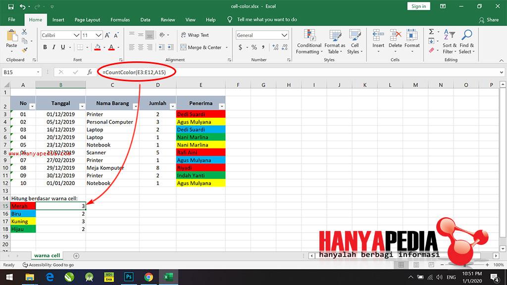Cara Menghitung Jumlah Berdasarkan Warna di Excel