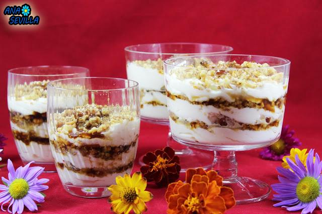 Triflé de nata, nueces y caramelo Ana Sevilla cocina tradicional