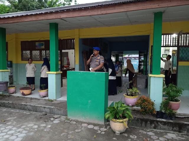 Police Goes To School, KBO Sat Polair Polres Tanjung Balai Sampaikan Pesan Kamtibmas Kepada Siswa /Siswi SMP N 8 Tanjung Balai