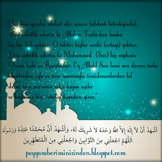 Abdestten sonra okuması sünnet olan dualar