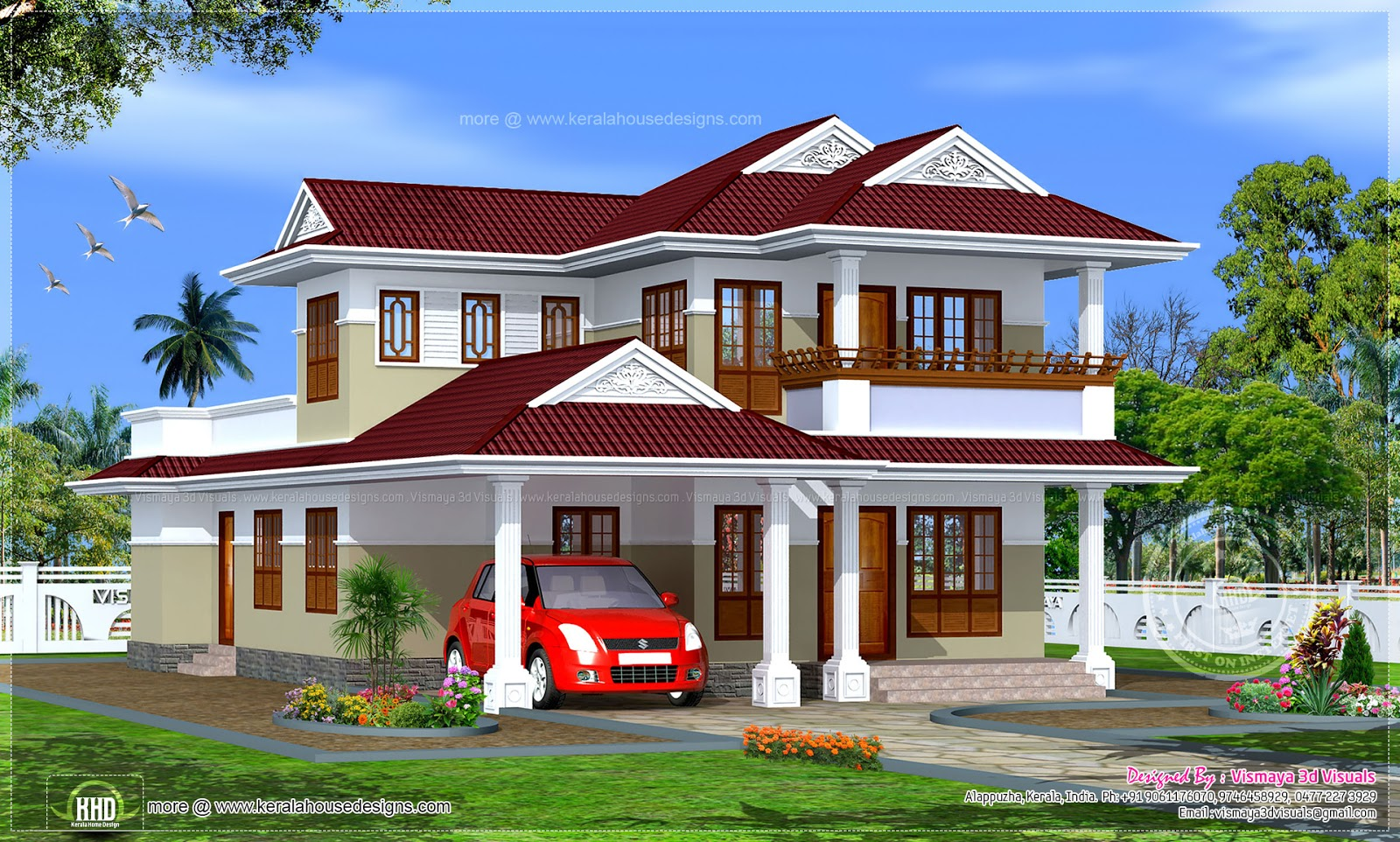 3 bedroom kerala style house in 198 sqm kerala home for Kerala home style 3 bedroom