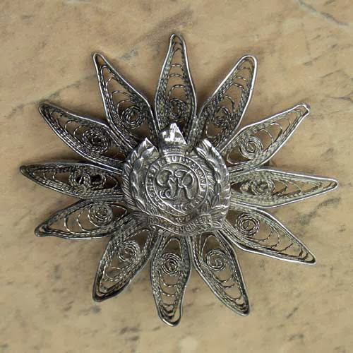 Royal Engineers filigree sterling silver brooch