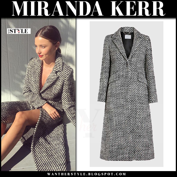 Miranda Kerr in black white wool tweed coat marella what she wore