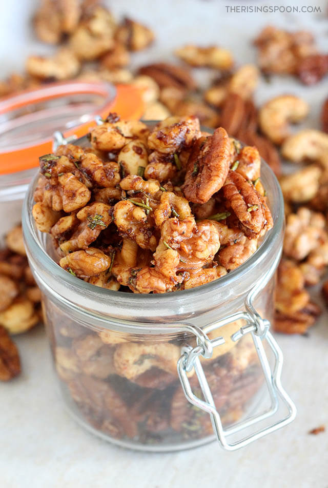 Savory Rosemary Spiced Nuts (Easy Holiday & Christmas Food Gift in a Jar)