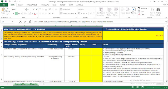 Strategic Planning Checklist Template in Excel