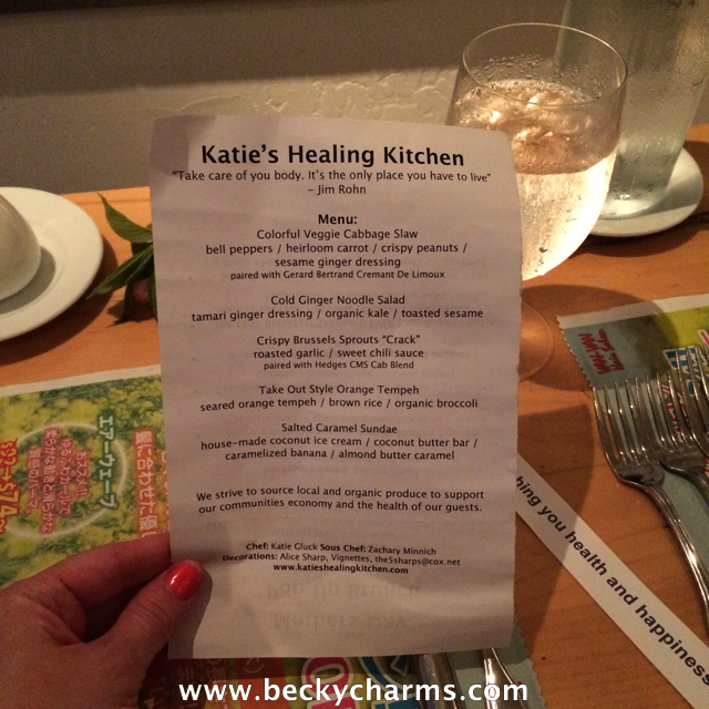 Katie's Healing Kitchen Vegan Asian PopUp Dinner at Wine Vault & Bistro || www.beckycharms.com