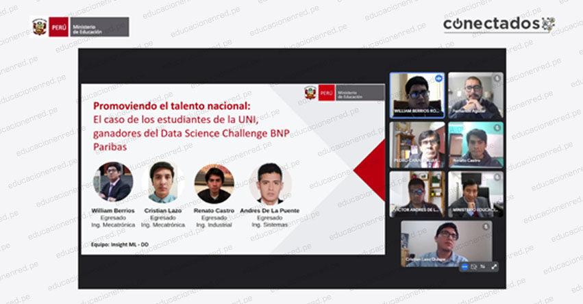 UNI: Equipo ganador de la Universidad Nacional de Ingeniería del Data Science Challenge es reconocido por MINEDU