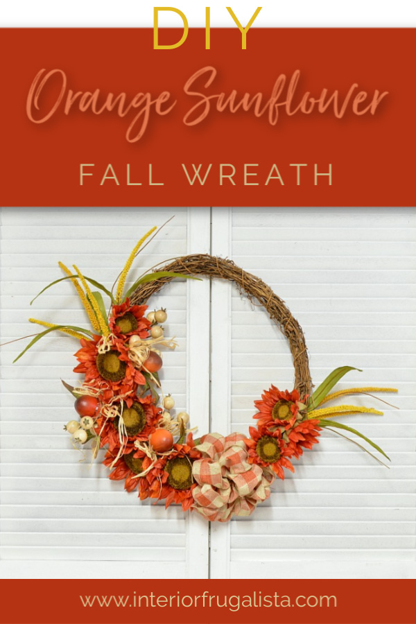 Orange Sunflower Grapevine DIY Fall Wreath