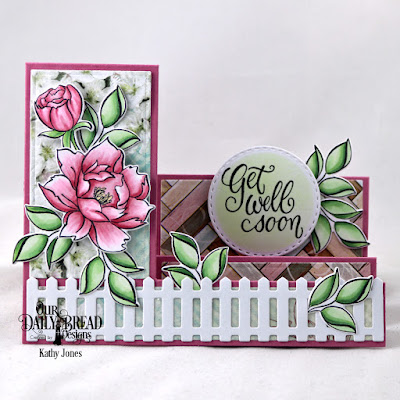 Our Daily Bread Designs Stamp/Die Duos: Hello Friend, Custom Dies: Side Step Card, Side Step Layers, Fence, Double Stitched Circles, Paper Collection: Romantic Roses