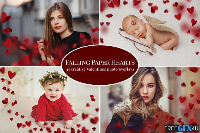 Falling Paper Hearts Photo Overlays