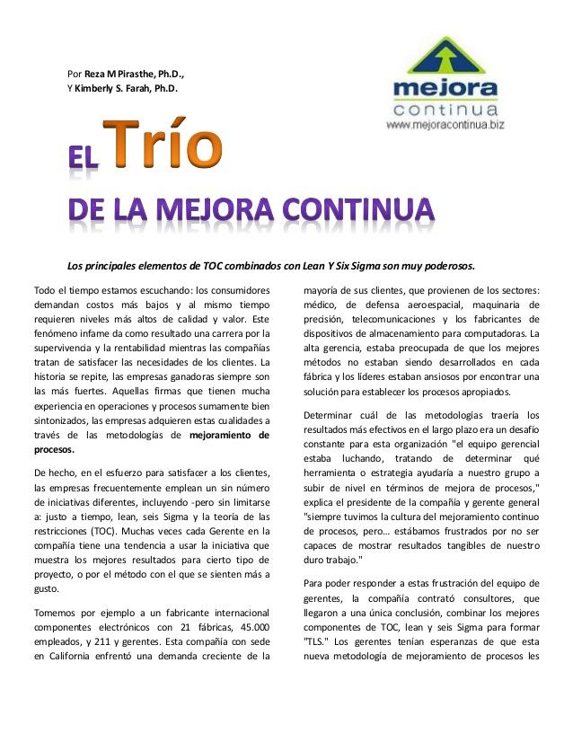 TLS el trio de mejora continua [Libro]