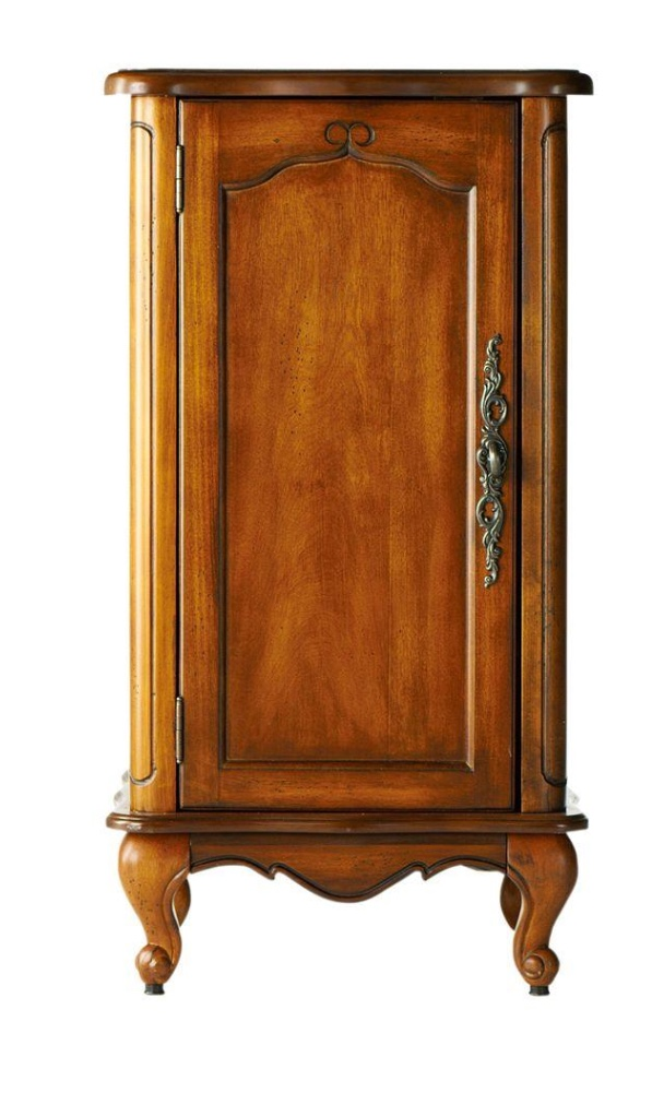 Add French Country style to a room with a small Provence style cabinet in wood tones