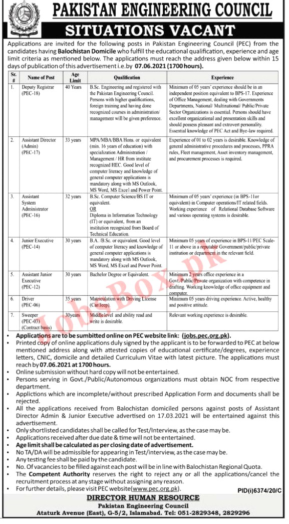 Latest Jobs in Pakistan Engineering Council PEC 2021 - Apply online