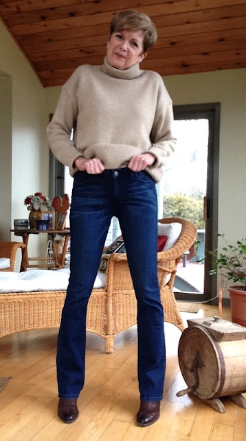 New Year, New Jeans. Current Elliot jeans with camel sweater
