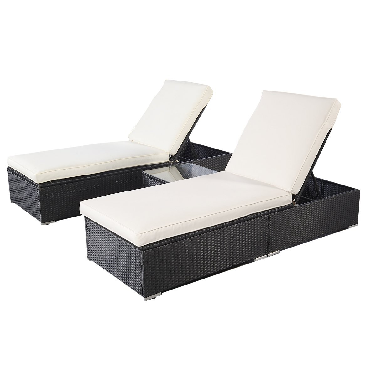 Wicker outdoor furniture pool chaise lounge chair with for Black outdoor wicker chaise