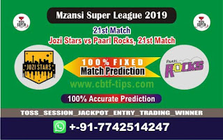 Who will win Today MSL T20 2019, 21st Match Paarls vs Jozi - Cricfrog