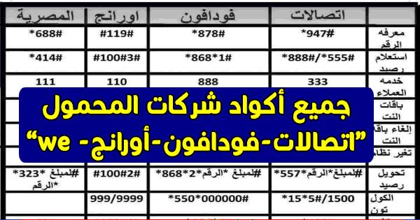 جميع اكواد الاشتراك وتجديد باقات جميع الشركات اتصالات - فودافون - وي we المصرية للاتصالات - اورانج موبينيل سابقا 2018