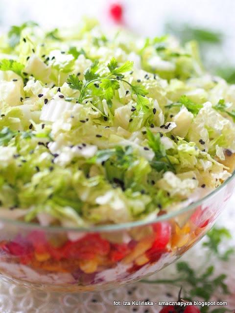 warzywa, kurczak, salatka gyros, przyprawa, przyprawy, na impreze, imprezowa salatka, miska salaty, kolorowe warstwy, kolorowe warzywa,