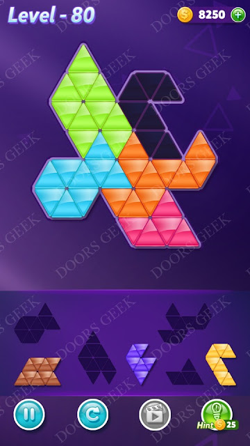 Block! Triangle Puzzle 5 Mania Level 80 Solution, Cheats, Walkthrough for Android, iPhone, iPad and iPod