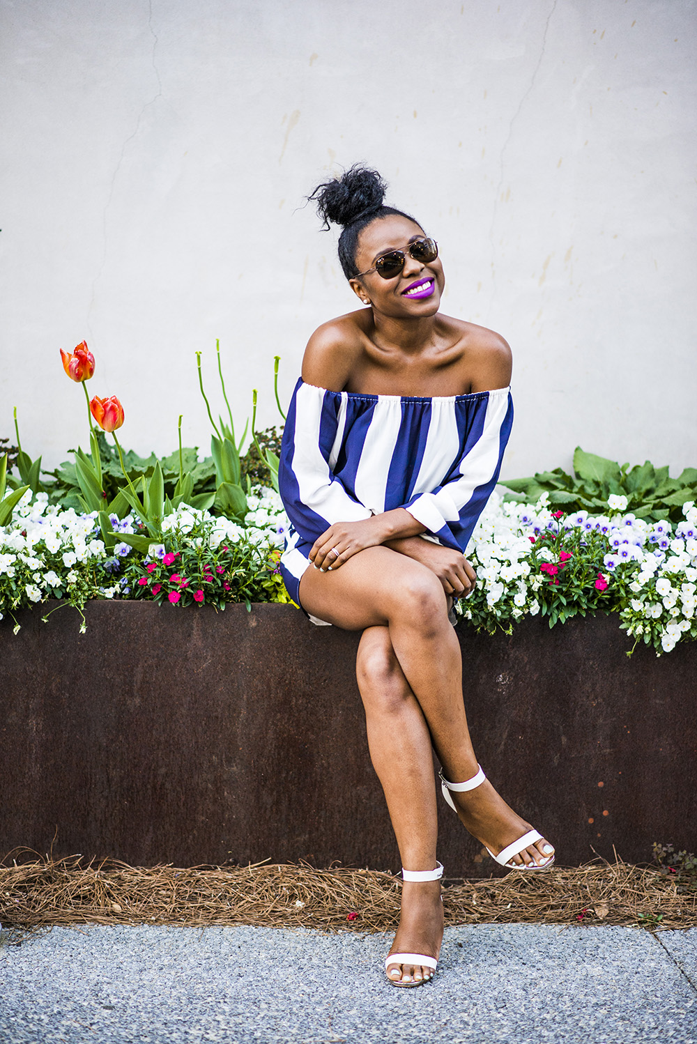 Spring Fashion Trends:Off shoulder striped romper