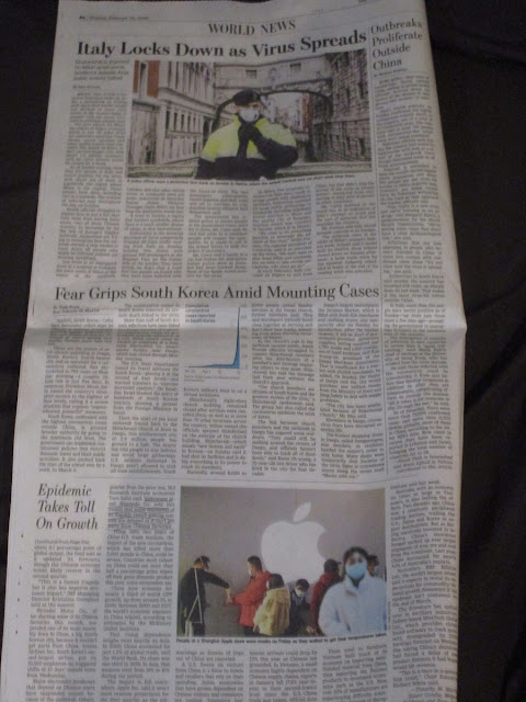 Wall Street Journal coronavirus monday february 24 2020 italy locks down china south korea nintendo
