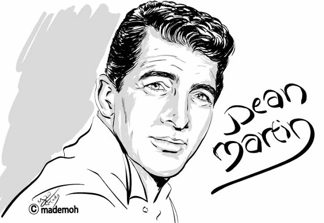 Ilovedinomartin Dean Martin Portrait Illustration Two Color