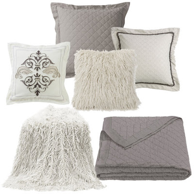 Grey diamond linen quilt, Charlotte shades of gray pillow, Piedmont link pillow, white mongolian faux fur pillow and throw
