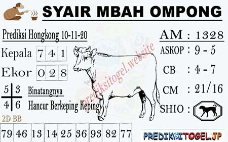 Syair Mbah Ompong HK Selasa 10 November 2020
