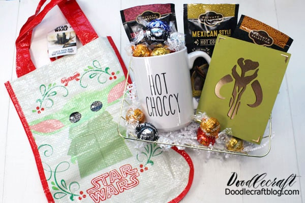Gift includes: Hot Choccy Mug (tutorial to follow) Mandalorian Card (tutorial to follow) Hot Chocolate Mix Lindt Truffles Star Wars Baby Yoda Stocking Tote from Dollar Tree
