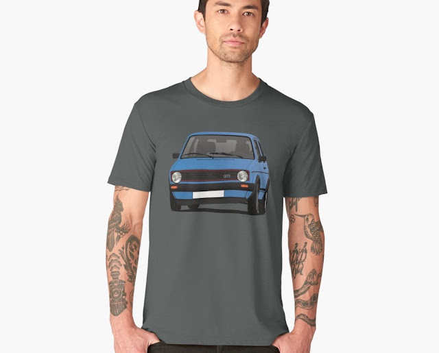 VW Golf I GTI - automobile t-shirt - blue