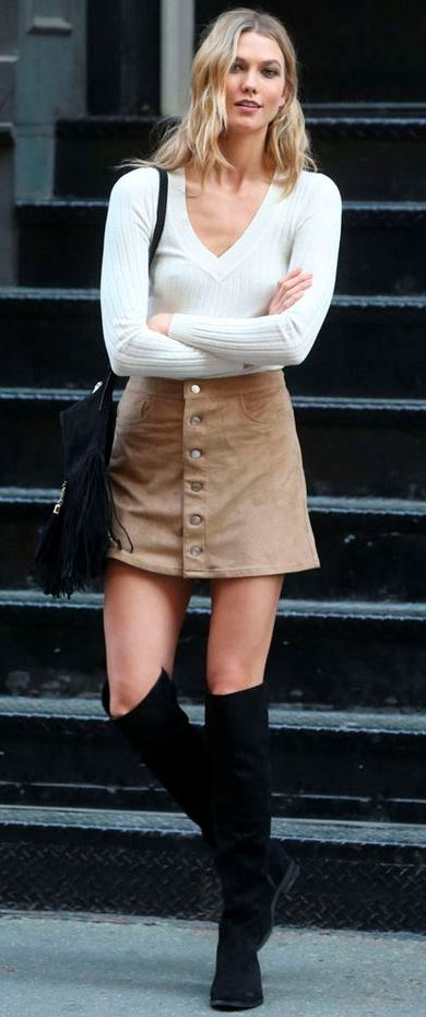 how to style a skirt : bag + white sweater + over the knee boots