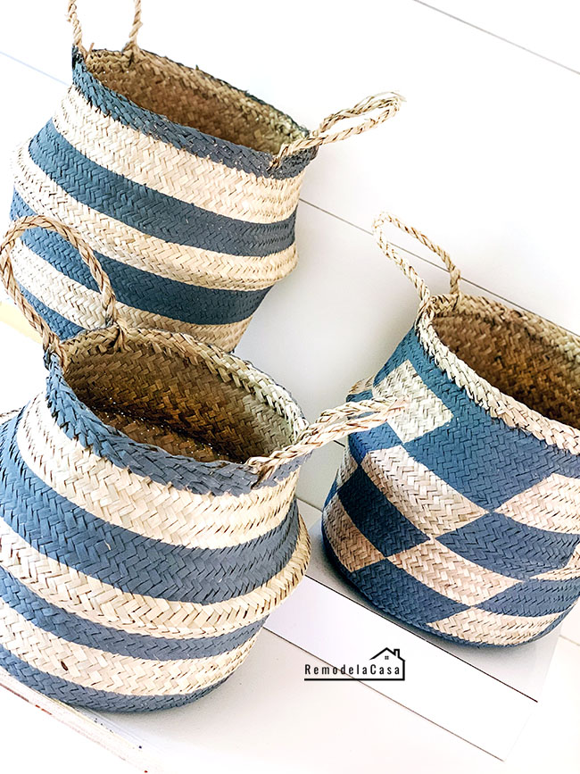 painted stripes and parallelograms on baskets