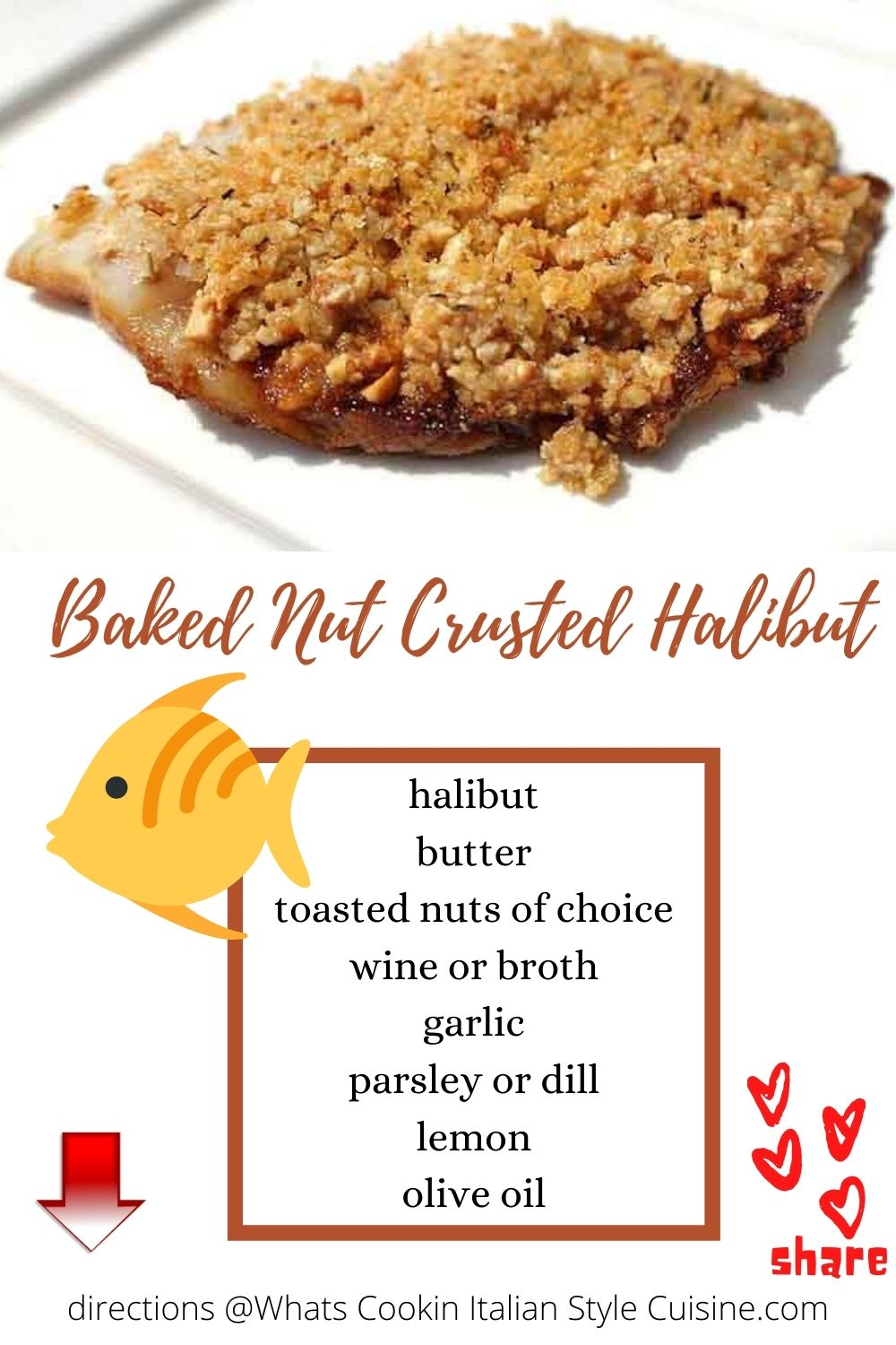 pin for later halibut with toasted pistachios