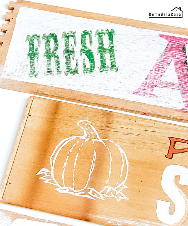 Wooden signs for Fall