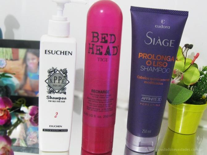 Shampoos diários: Shampoo NPPE Esuchen, Tigi Bed Head Recharge e Shampoo Siàge Prolonga o Liso Eudora