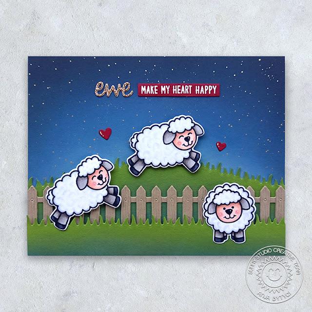 Sunny Studio Stamps: Picket Fence Dies Slimline Dies Missing Ewe Missing You Card by Anjy Bytyqi