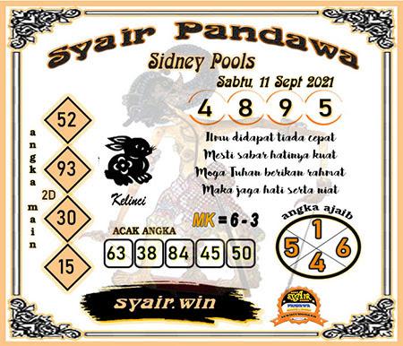 Syair Pandawa SDY Sabtu 11-Sep-2021
